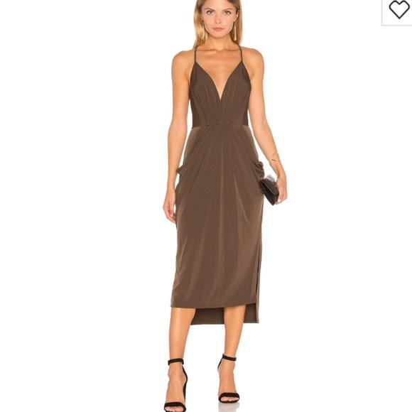 Bcbg Dresses Bcbg Faux Wrap Dress Olive Brown Poshmark